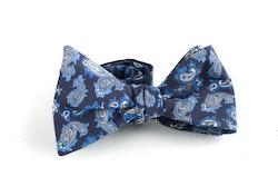 Paisley Madder Silk Bow Tie - Navy Blue/Light Blue