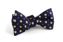 Floral Silk Bow Tie - Navy Blue/Yellow