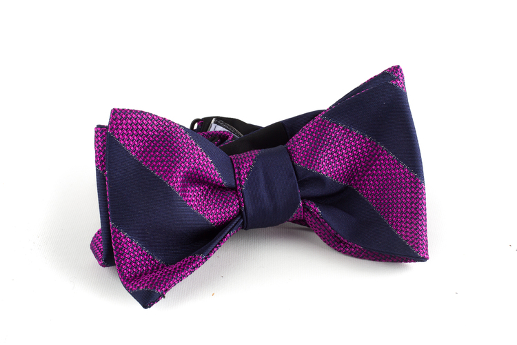 Regimental Silk Bow Tie - Navy Blue/Cerise