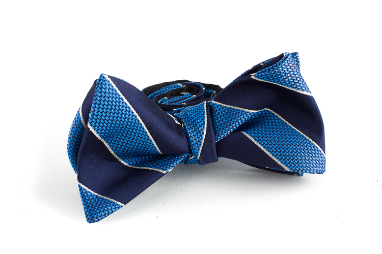 Regimental Silk Bow Tie - Navy Blue/Light Blue