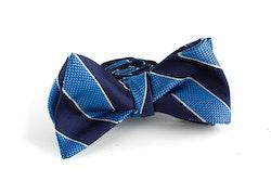 Regimental Silk Bow Tie - Navy Blue/Light Blue
