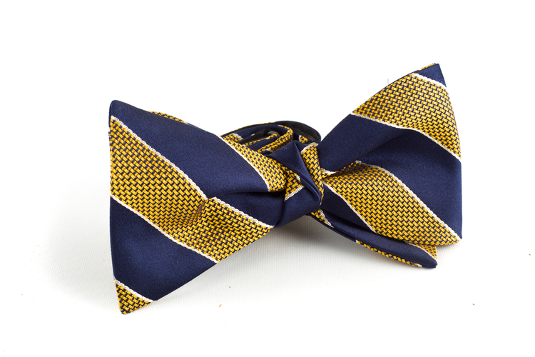 Regimental Silk Bow Tie - Navy Blue/Yellow