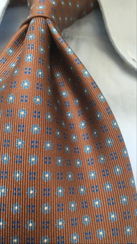Floral Printed Silk Tie - Untipped - Brown/Light Blue/Navy Blue