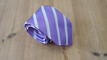 Silk Regimental  - Purple/White