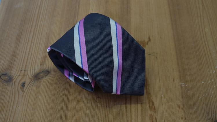 Silk Regimental  - Dark Grey/White/Pink