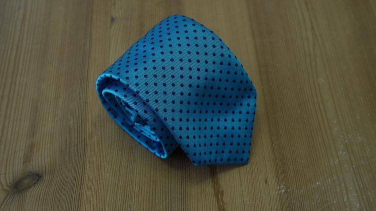 Silk Polka Dot  - Turquoise/Navy Blue