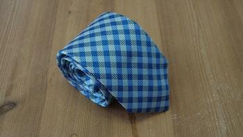 Silk Check  - Light Blue/Turquoise
