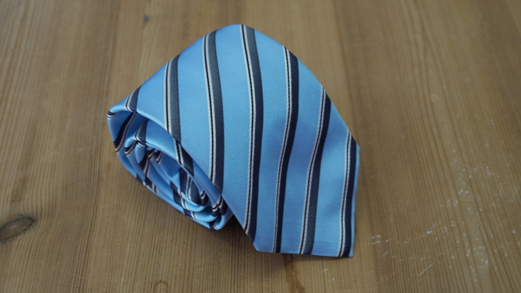 Silk Regimental  - Light Blue/Navy Blue/White