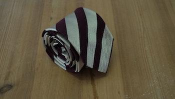 Silk Regimental - Beige/Burgundy
