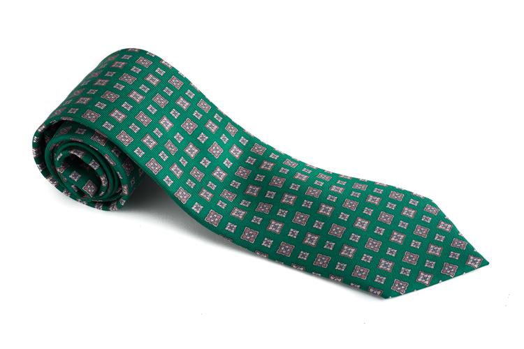 Floral Printed Silk Tie - Green/Beige