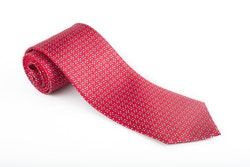 Floral Printed Silk Tie - Red