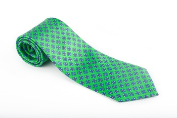 Floral Printed Silk Tie - Green/Light Blue