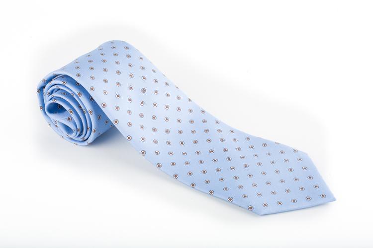 Floral Printed Silk Tie - Light Blue