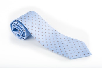Floral Printed Silk Tie - Light Blue