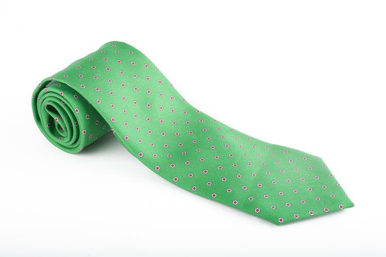 Floral Printed Silk Tie - Green/Red
