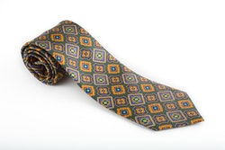 Medallion Printed Silk Tie - Green/Mustard