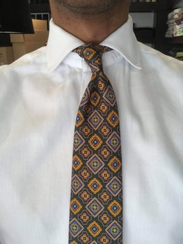 Medallion Printed Silk Tie - Green/Mustard