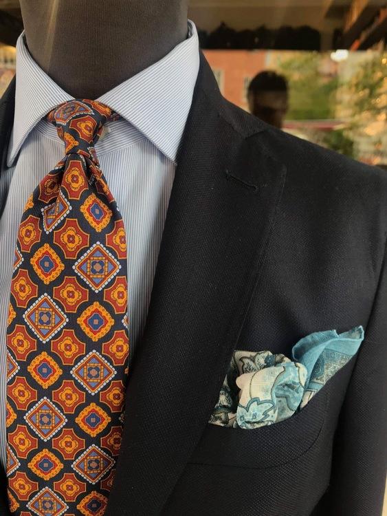 Medallion Printed Silk Tie - Navy Blue/Mustard