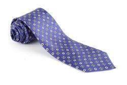 Floral Printed Silk Tie - Purple/Grey