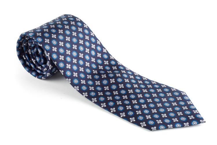 Floral Printed Silk Tie - Navy Blue/Grey/Light Blue