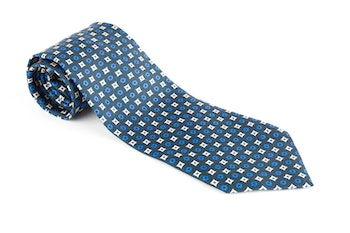 Floral Printed Silk Tie - Green/Light Blue/White
