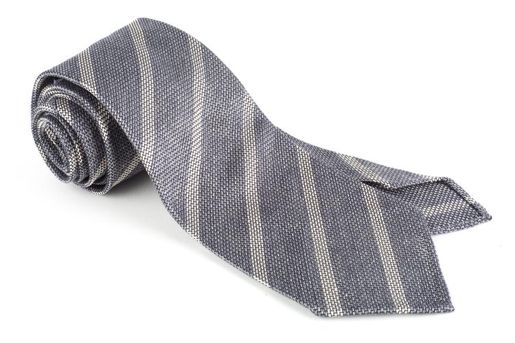 Regimental Silk Grenadine Tie - Untipped - Grey/White
