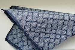 Medallion Seersucker Cotton/Silk Pocket Square - Navy Blue/White