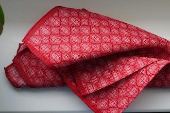 Medallion Seersucker Cotton/Silk Pocket Square - Red/White