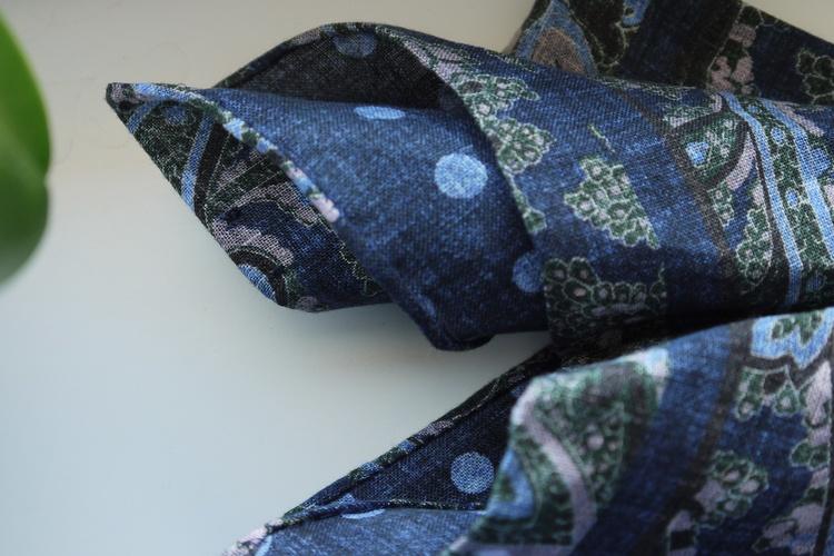 Paisley/Polka Linen Pocket Square - Double - Navy Blue/Green