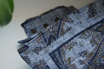 Paisley/Polka Linen Pocket Square - Double - Light Blue/Navy Blue