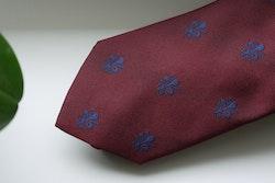 French Lily Silk Tie - Burgundy/Navy Blue
