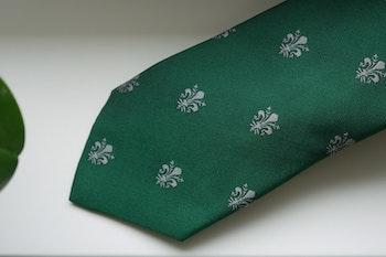French Lily Silk Tie - Green/Grey