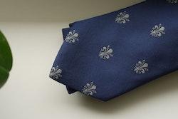 French Lily Silk Tie - Navy Blue/Beige