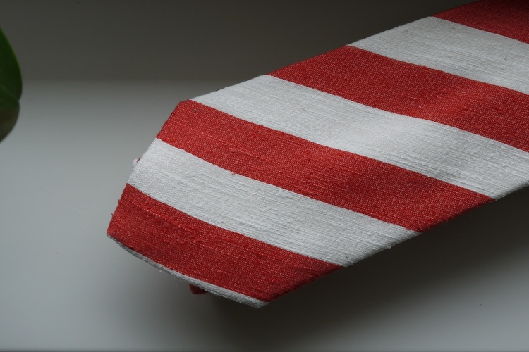 Regimental Shantung Tie - Rust Orange/White