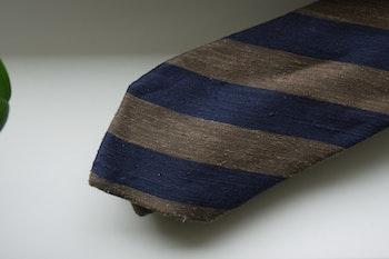 Regimental Shantung Tie - Brown/Navy Blue