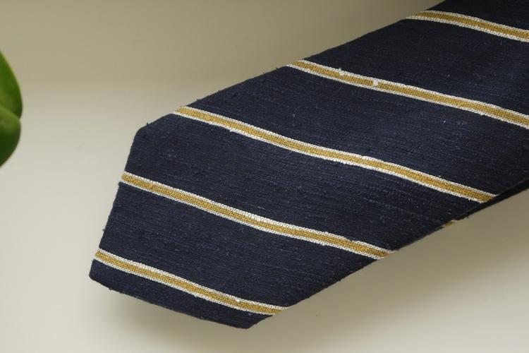 Regimental Shantung Tie - Navy Blue/Mustard Yellow