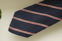 Regimental Shantung Tie - Navy Blue/Rust Orange