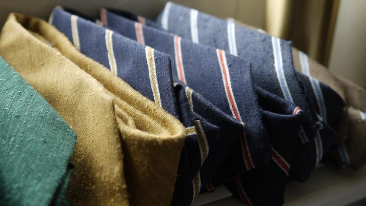 Regimental Shantung Tie - Navy Blue/Light Blue