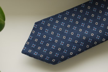 Floral Linen Tie - Navy Blue/Red/White