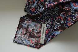 Paisley Printed Linen Tie - Untipped - Brown/Light Blue/Red
