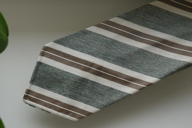 Regimental Silk Tie - Untipped - Green/Beige/White