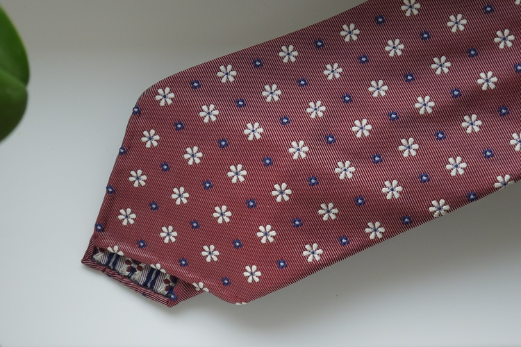 Floral Silk Tie - Untipped - Red/Navy Blue/White