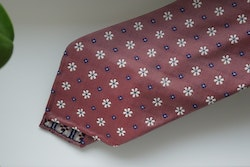 Floral Silk Tie - Untipped - Red/Navy Blue/White