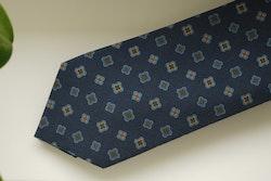 Medallion Madder Silk Tie - Navy Blue/Brown/Orange