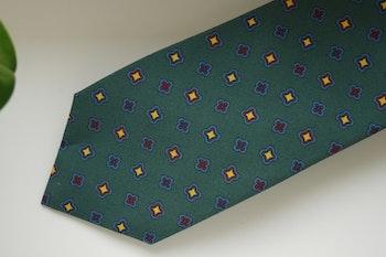 Medallion Madder Silk Tie - Dark Green/Light Blue/Yellow/Red