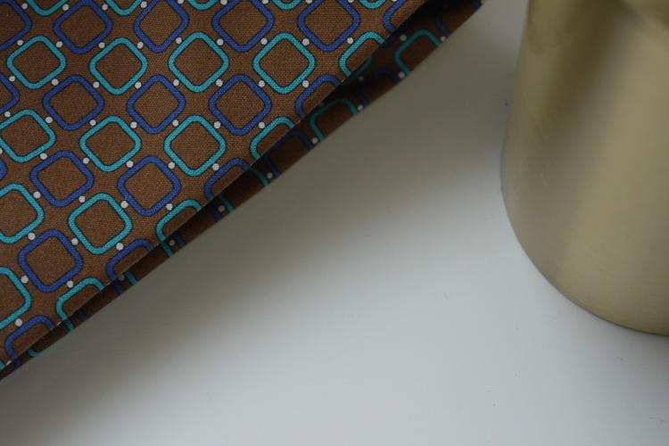 Square Madder Silk Tie - Brown/Navy Blue/Turquoise