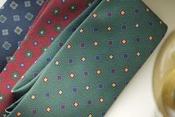 Floral Madder Silk Tie - Burgundy/Green/Yellow
