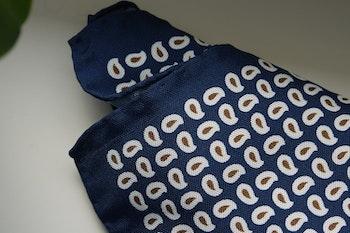Paisley Silk Pocket Square - Navy Blue/White/Brown