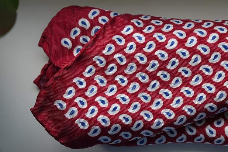 Paisley Silk Pocket Square - Red/White/Navy Blue