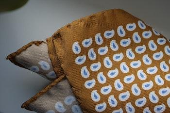 Paisley Silk Pocket Square - Yellow/White/Light Blue